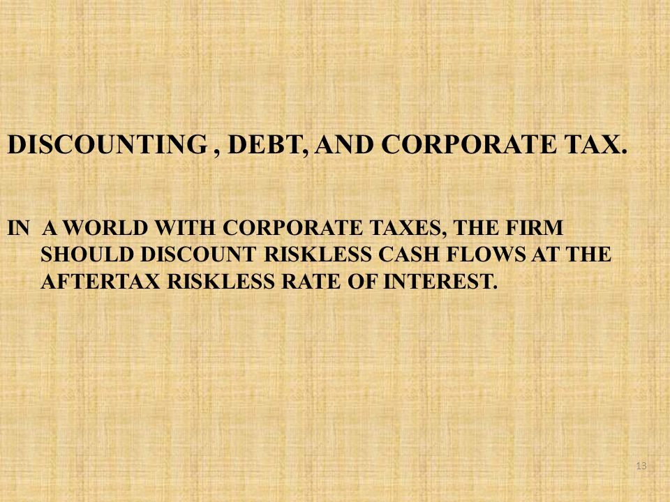 DISCOUNTING, DEBT, AND CORPORATE TAX.