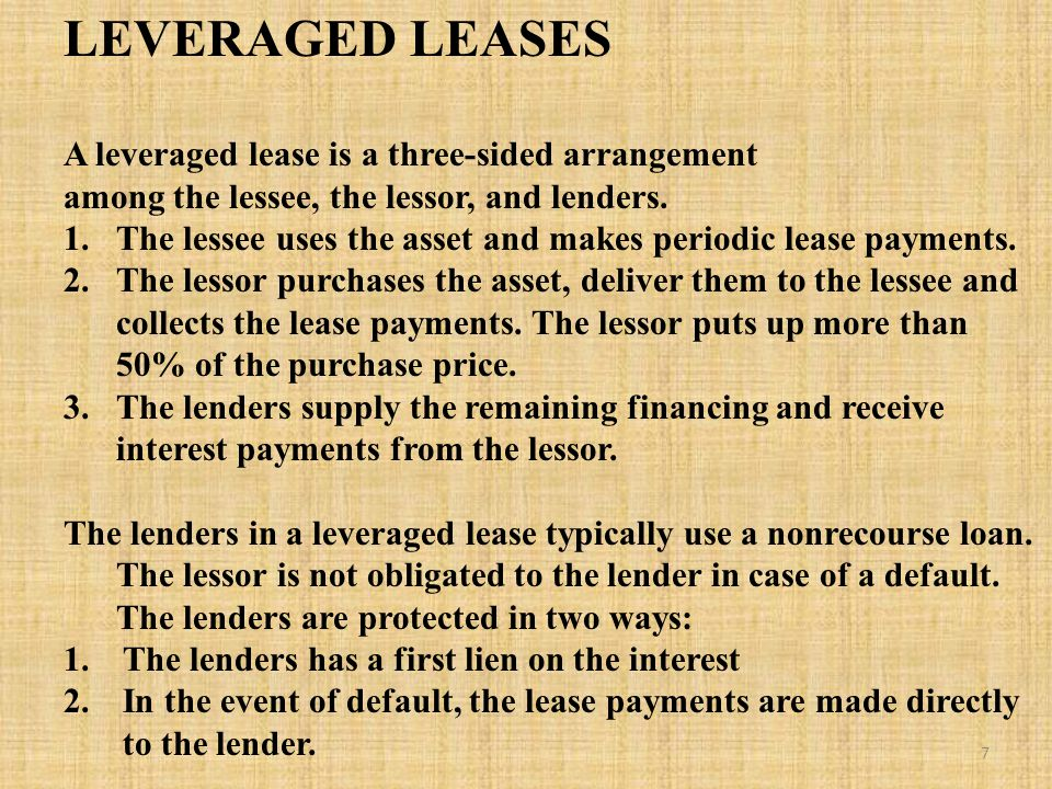 LEVERAGED LEASES A leveraged lease is a three-sided arrangement among the lessee, the lessor, and lenders.