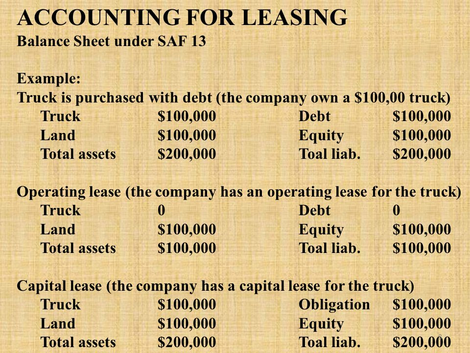 ACCOUNTING FOR LEASING Balance Sheet under SAF 13 Example: Truck is purchased with debt (the company own a $100,00 truck) Truck$100,000Debt$100,000 Land$100,000Equity$100,000 Total assets$200,000Toal liab.$200,000 Operating lease (the company has an operating lease for the truck) Truck0Debt0 Land$100,000Equity$100,000 Total assets$100,000Toal liab.$100,000 Capital lease (the company has a capital lease for the truck) Truck$100,000Obligation$100,000 Land$100,000Equity$100,000 Total assets$200,000Toal liab.$200,000 8