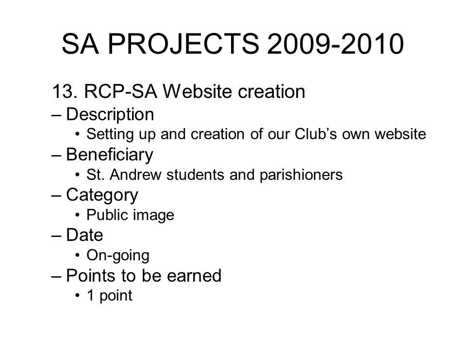 SA PROJECTS 2009-2010 13.