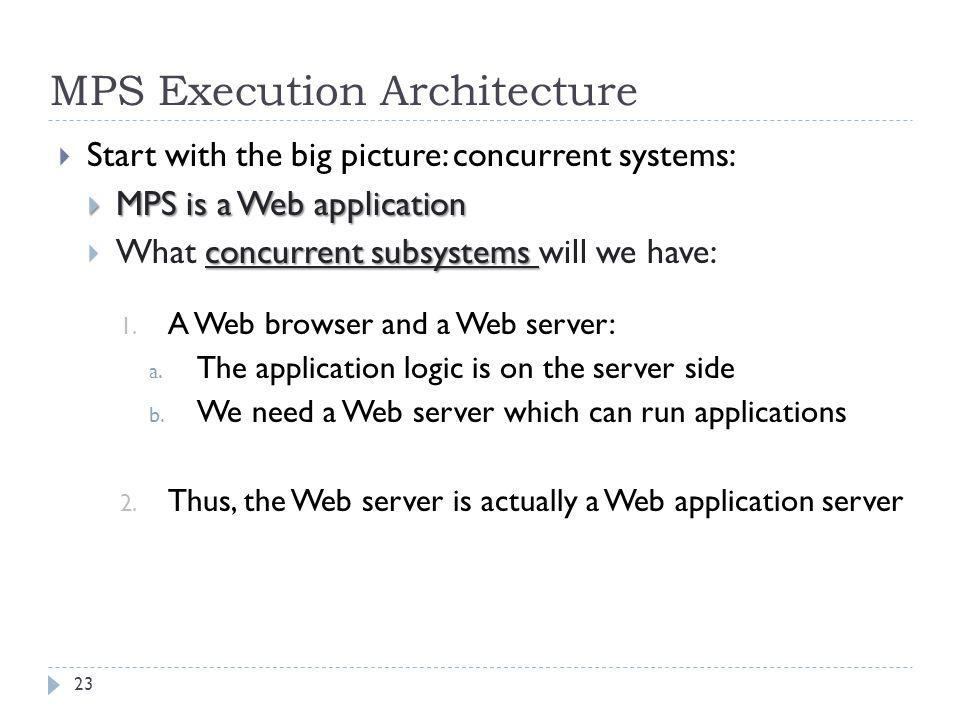 MPS Execution Architecture  Start with the big picture: concurrent systems:  MPS is a Web application concurrent subsystems  What concurrent subsys