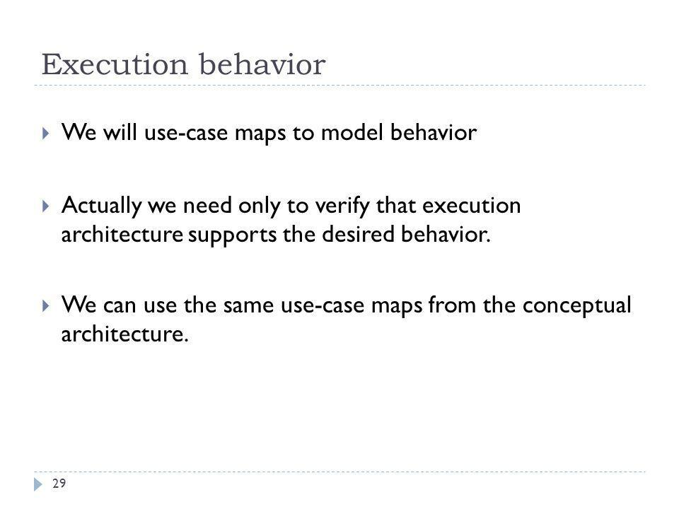 Execution behavior  We will use-case maps to model behavior  Actually we need only to verify that execution architecture supports the desired behavi