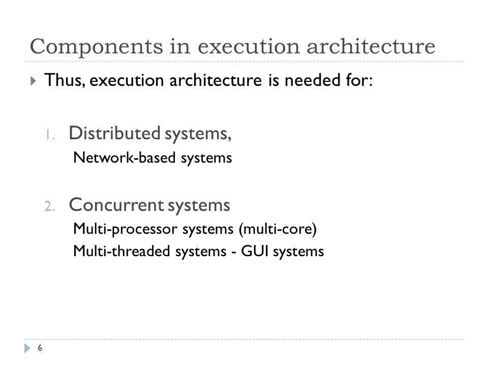 Execution Architecture Design  In Execution Architecture Design, we design a number of different models:  Some of them will include physical components:  i.e.