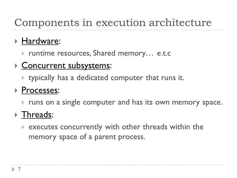 Connectors in execution architecture  Connectors indicate that one component calls another  The arrow depicts the call direction  The arrowhead points from the calling component to the called component  Three different types of arrows for three different calling scenarios:  Synchronous  Asynchronous  Callback 8