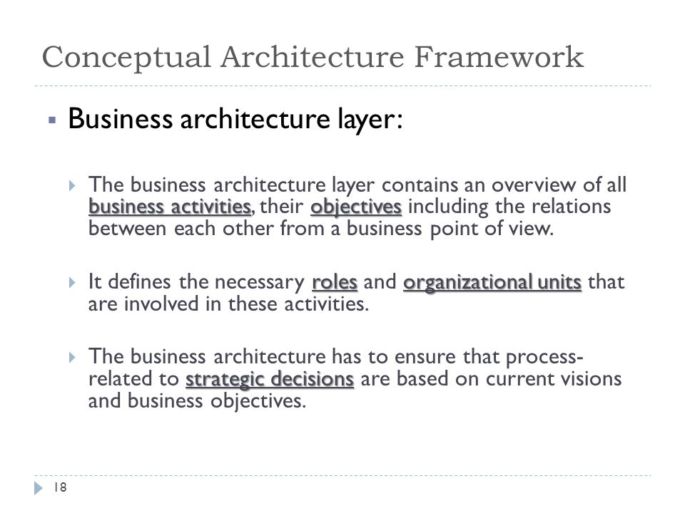  Business architecture layer: business activitiesobjectives  The business architecture layer contains an overview of all business activities, their objectives including the relations between each other from a business point of view.