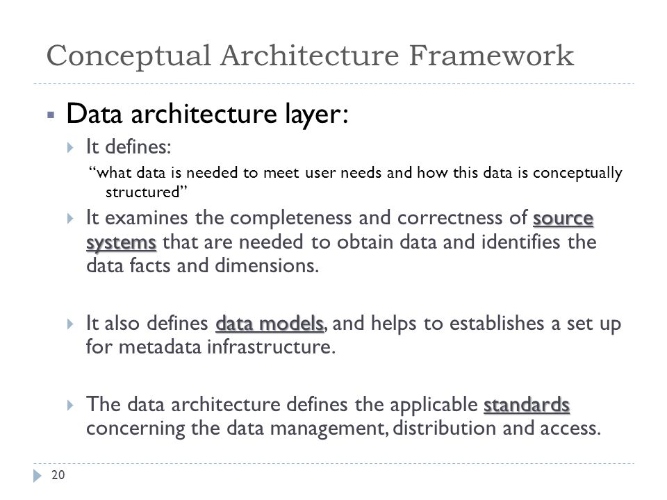  Data architecture layer:  It defines: what data is needed to meet user needs and how this data is conceptually structured source systems  It examines the completeness and correctness of source systems that are needed to obtain data and identifies the data facts and dimensions.