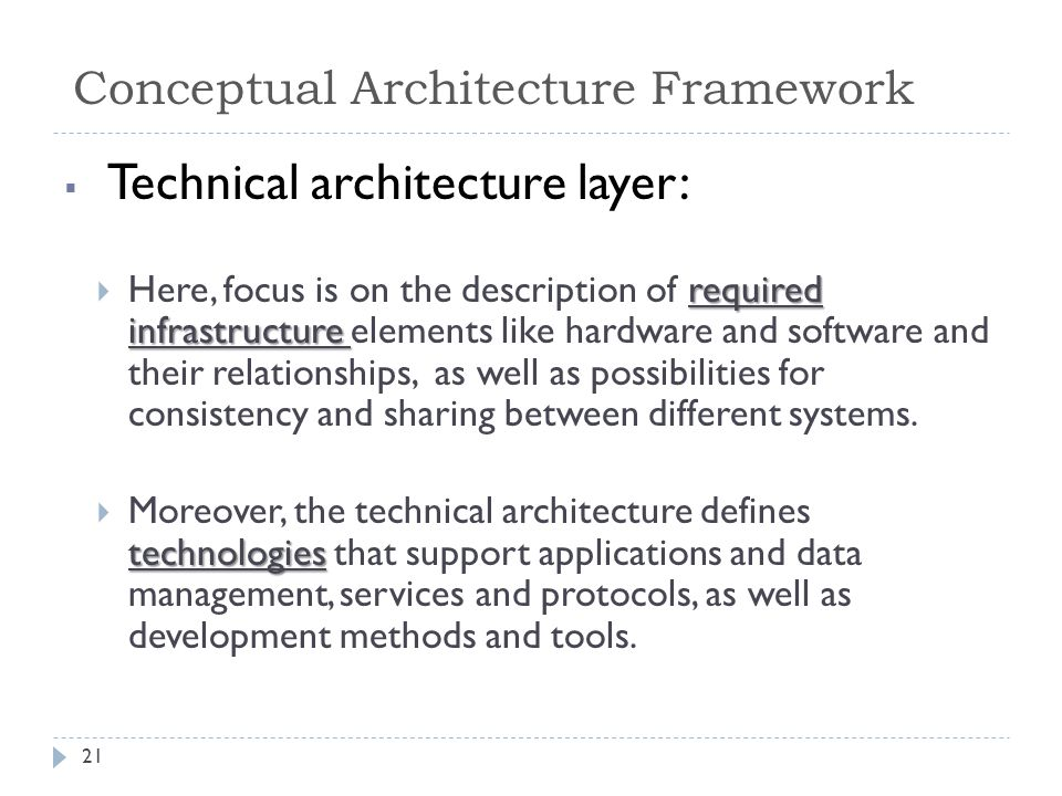  Technical architecture layer: required infrastructure  Here, focus is on the description of required infrastructure elements like hardware and software and their relationships, as well as possibilities for consistency and sharing between different systems.