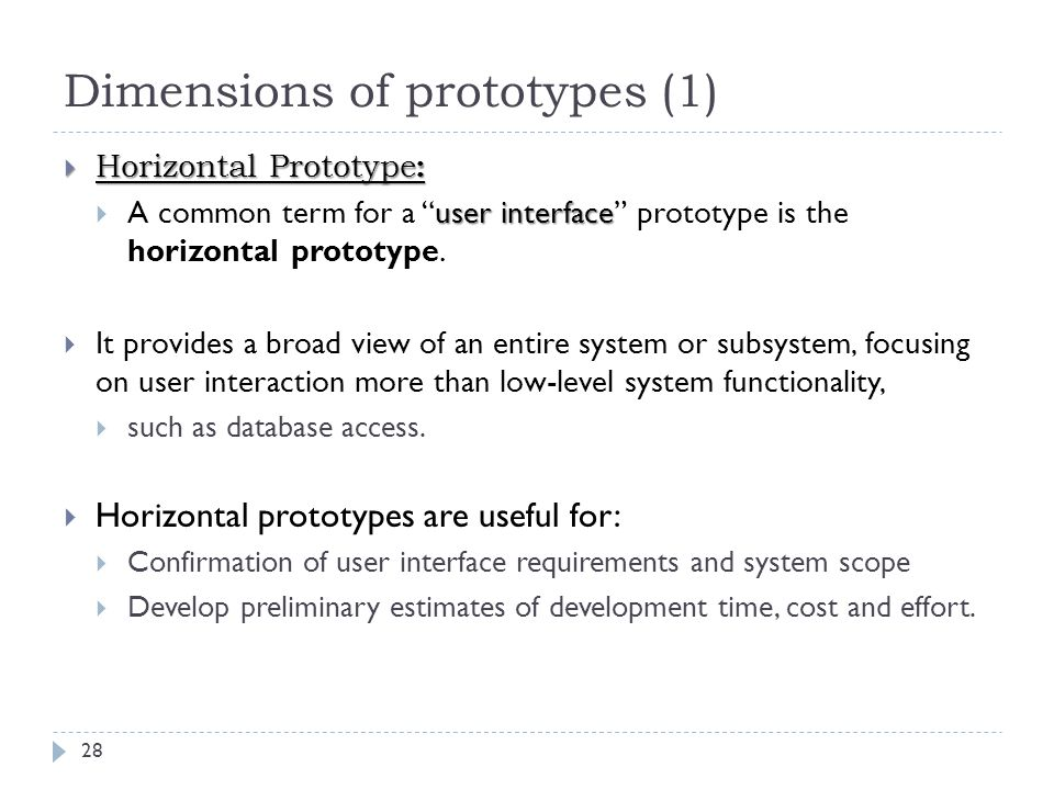"Dimensions of prototypes (1) 28  Horizontal Prototype : user interface  A common term for a ""user interface"" prototype is the horizontal prototype."