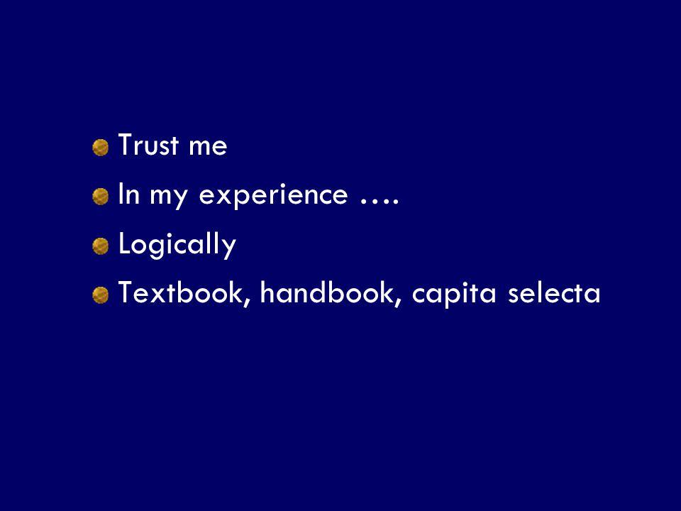 SS/EBM/IKA-UDIP-2010 Trust me In my experience …. Logically Textbook, handbook, capita selecta
