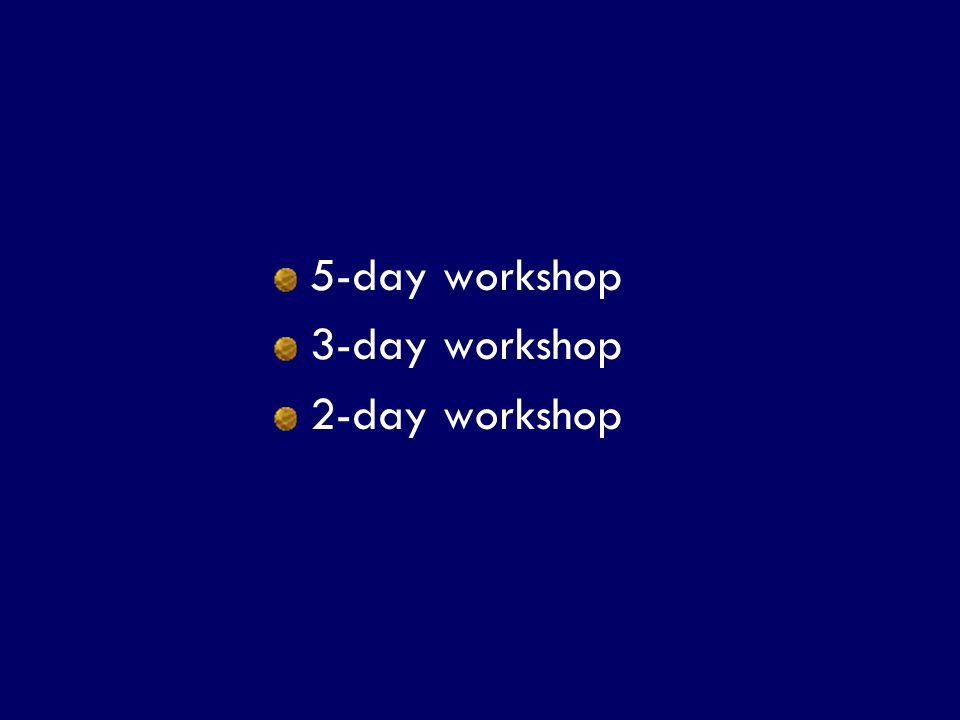 SS/EBM/IKA-UDIP-2010 5-day workshop 3-day workshop 2-day workshop