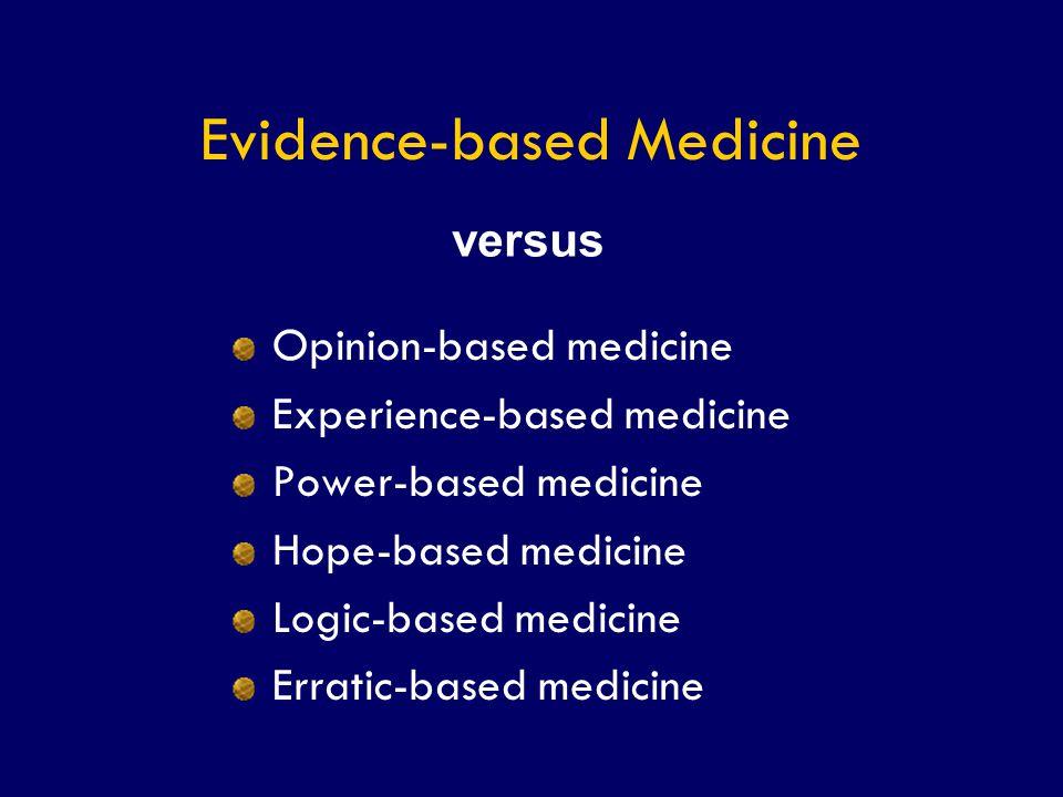 SS/EBM/IKA-UDIP-2010 Evidence-based Medicine Opinion-based medicine Experience-based medicine Power-based medicine Hope-based medicine Logic-based med