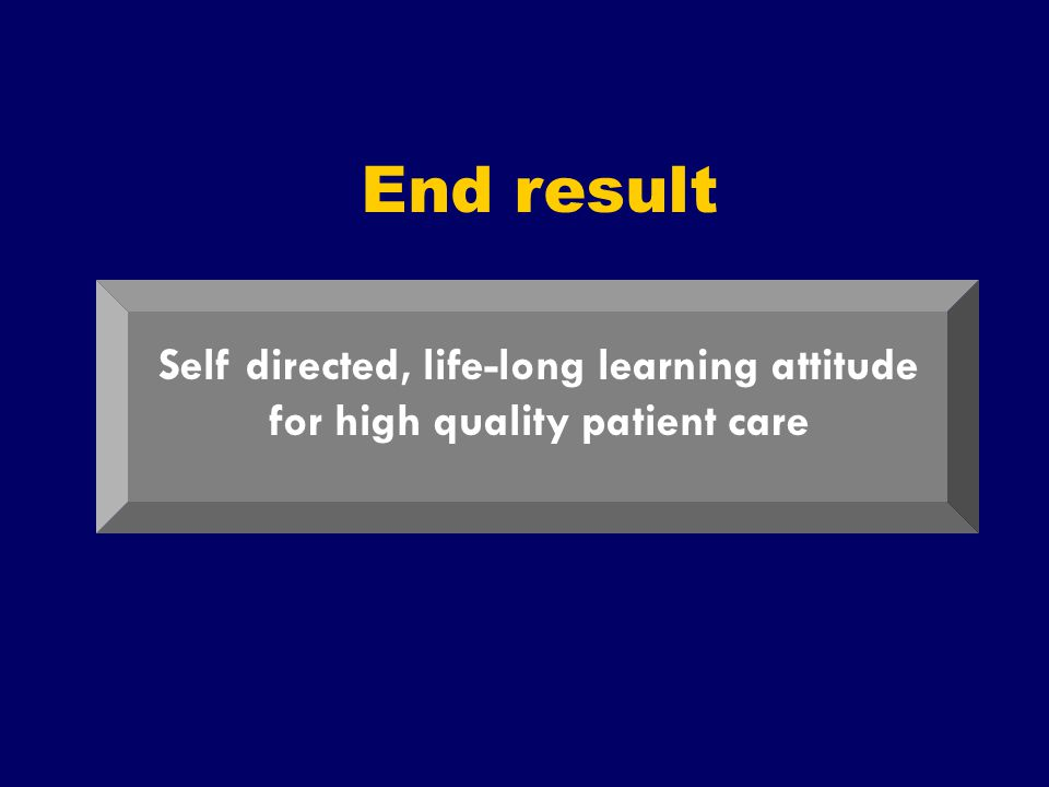 SS/EBM/IKA-UDIP-2010 End result Self directed, life-long learning attitude for high quality patient care