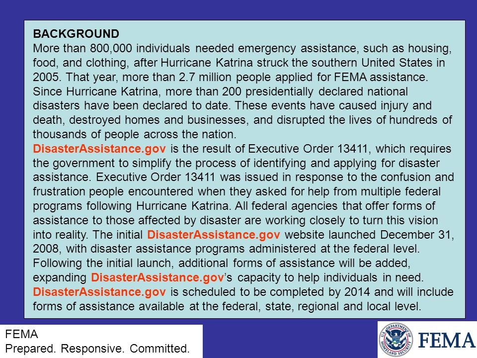 BACKGROUND More than 800,000 individuals needed emergency assistance, such as housing, food, and clothing, after Hurricane Katrina struck the southern