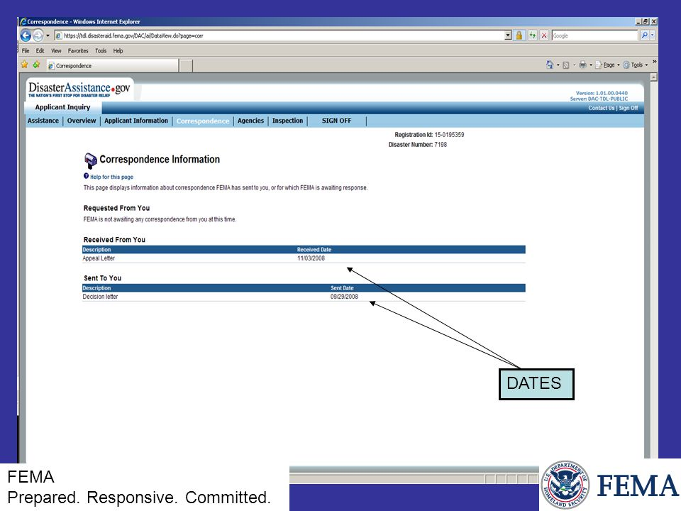FEMA Prepared. Responsive. Committed. DATES