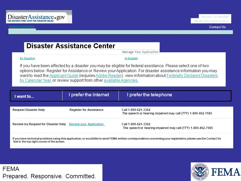 Server: DAC-PROD-PUBLIC En Español En Español In English In English If you have been affected by a disaster you may be eligible for federal assistance