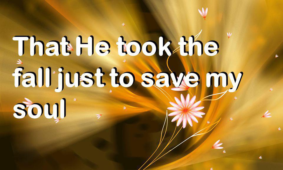 That He took the fall just to save my soul