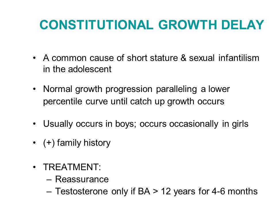 CONSTITUTIONAL GROWTH DELAY A common cause of short stature & sexual infantilism in the adolescent Normal growth progression paralleling a lower perce