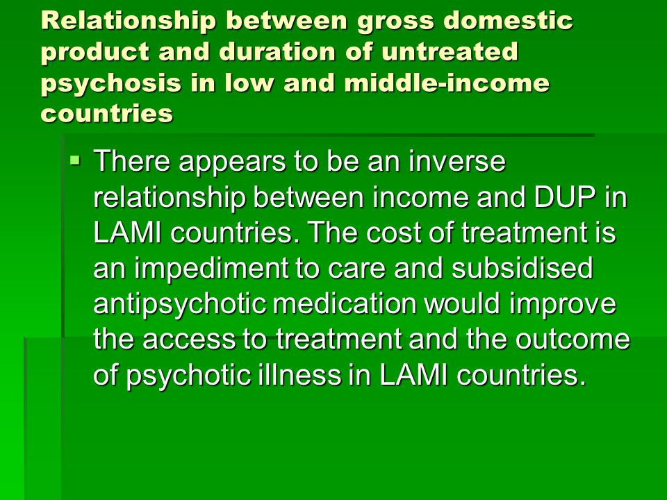 Relationship between gross domestic product and duration of untreated psychosis in low and middle-income countries  There appears to be an inverse relationship between income and DUP in LAMI countries.