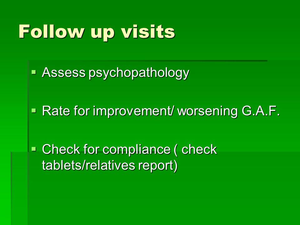 Follow up visits  Assess psychopathology  Rate for improvement/ worsening G.A.F.