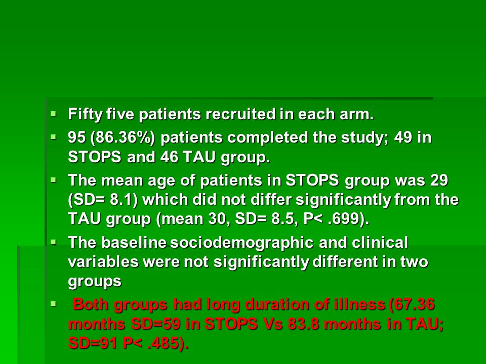  Fifty five patients recruited in each arm.  95 (86.36%) patients completed the study; 49 in STOPS and 46 TAU group.  The mean age of patients in S