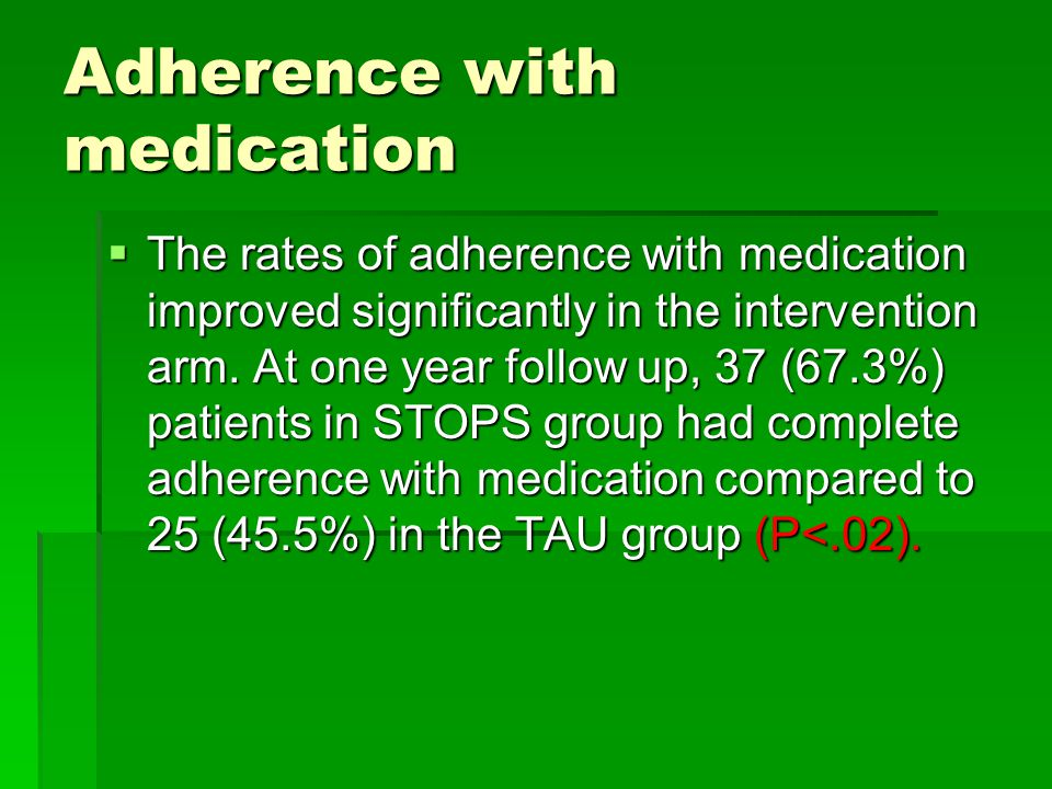 Adherence with medication  The rates of adherence with medication improved significantly in the intervention arm.
