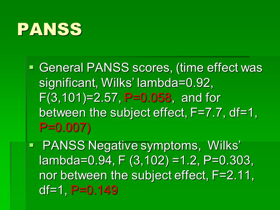 PANSS  General PANSS scores, (time effect was significant, Wilks' lambda=0.92, F(3,101)=2.57, P=0.058, and for between the subject effect, F=7.7, df=