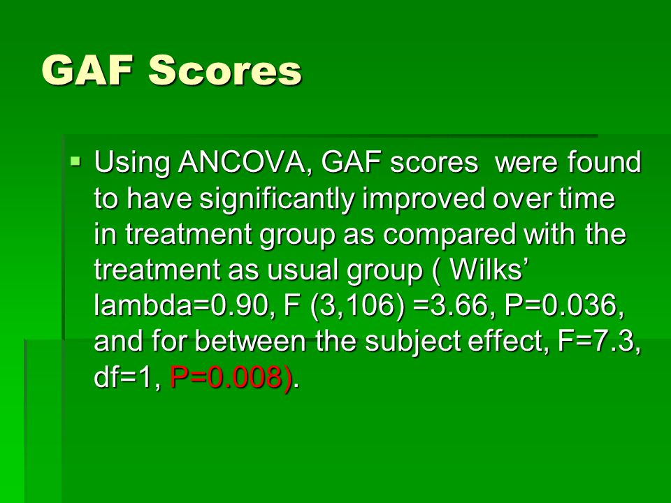 GAF Scores  Using ANCOVA, GAF scores were found to have significantly improved over time in treatment group as compared with the treatment as usual group ( Wilks' lambda=0.90, F (3,106) =3.66, P=0.036, and for between the subject effect, F=7.3, df=1, P=0.008).