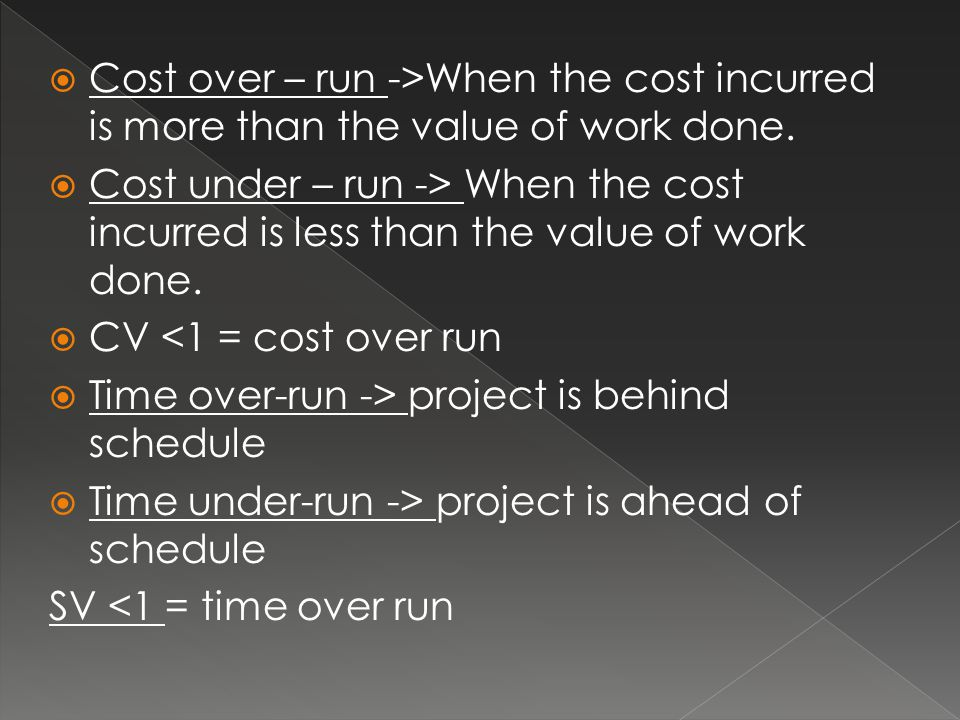 Cost over – run ->When the cost incurred is more than the value of work done.