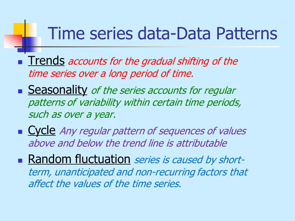 Time series data-Data Patterns Trends accounts for the gradual shifting of the time series over a long period of time. Seasonality of the series accou