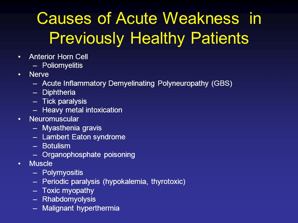 Causes of Acute Weakness in Previously Healthy Patients Anterior Horn Cell –Poliomyelitis Nerve –Acute Inflammatory Demyelinating Polyneuropathy (GBS)