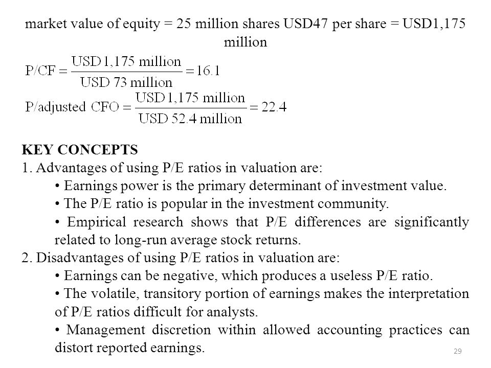 29 market value of equity = 25 million shares USD47 per share = USD1,175 million KEY CONCEPTS 1.