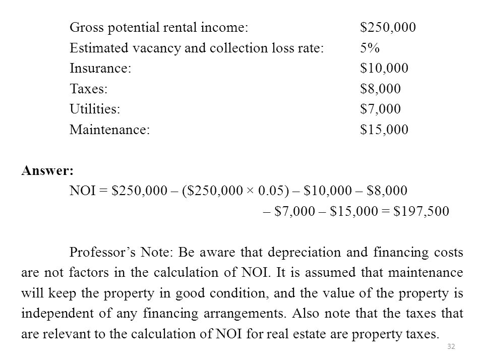 32 Gross potential rental income: $250,000 Estimated vacancy and collection loss rate: 5% Insurance: $10,000 Taxes: $8,000 Utilities: $7,000 Maintenance: $15,000 Answer: NOI = $250,000 – ($250,000 × 0.05) – $10,000 – $8,000 – $7,000 – $15,000 = $197,500 Professor's Note: Be aware that depreciation and financing costs are not factors in the calculation of NOI.