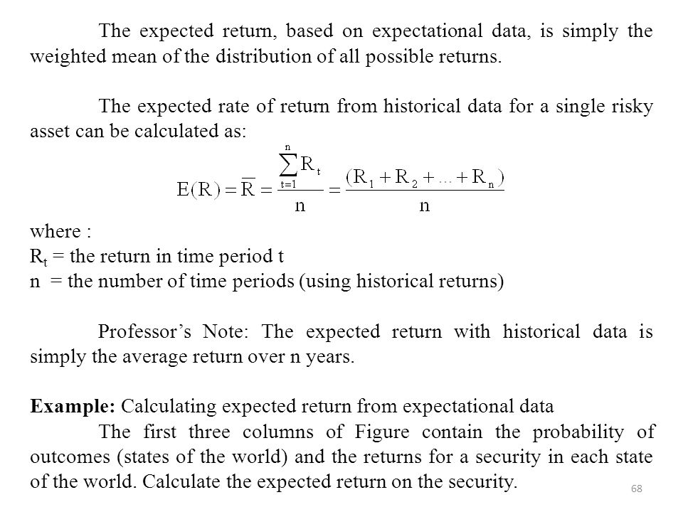 68 The expected return, based on expectational data, is simply the weighted mean of the distribution of all possible returns.