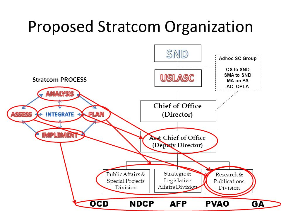 Proposed Stratcom Organization Stratcom PROCESS Chief of Office (Director) Asst Chief of Office (Deputy Director) Research & Publications Division Pub