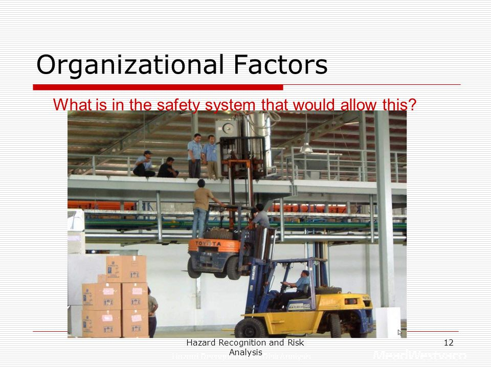 Hazard Recognition and Risk Analysis 11  Safety Systems Are systems in place to encourage people to do the job with minimal risk?  Leadership Behavi