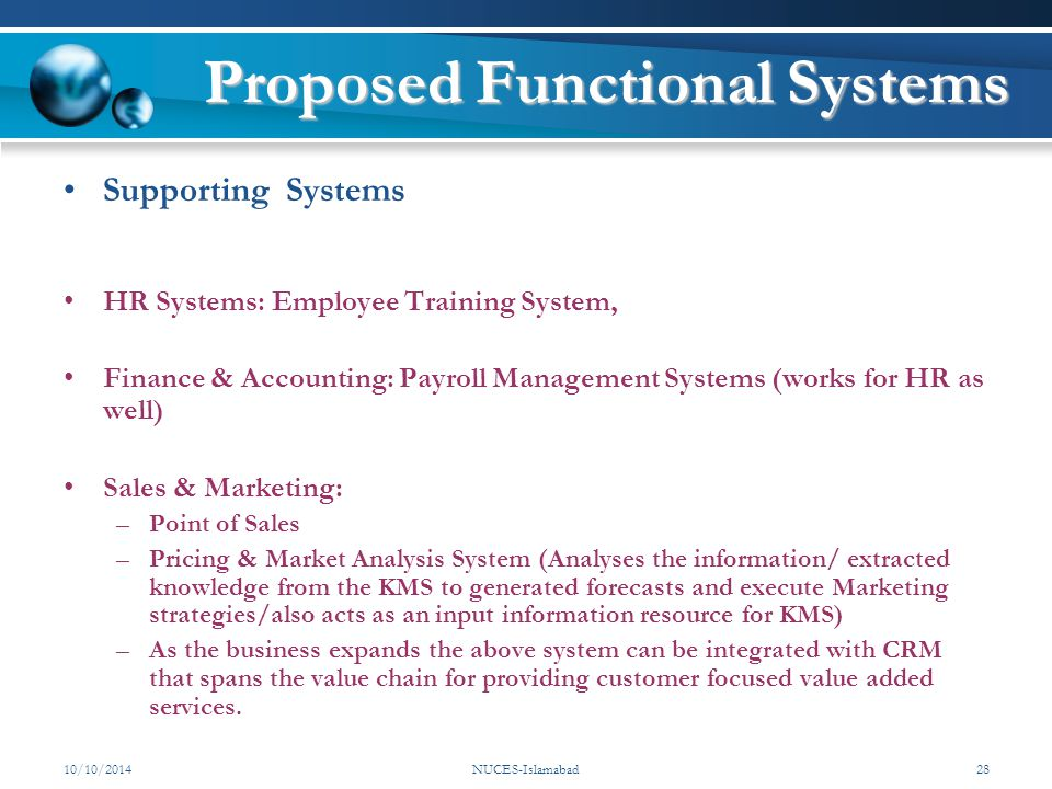 Proposed Functional Systems Supporting Systems HR Systems: Employee Training System, Finance & Accounting: Payroll Management Systems (works for HR as