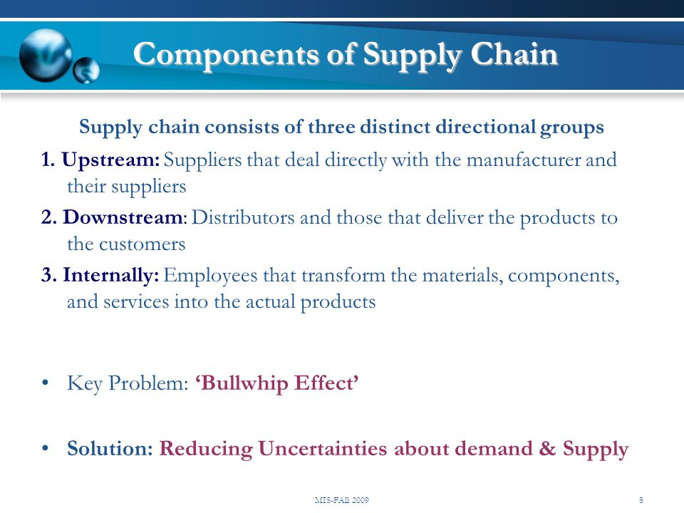 Components of Supply Chain Supply chain consists of three distinct directional groups 1. Upstream: Suppliers that deal directly with the manufacturer