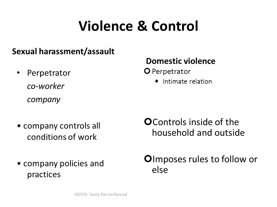 Violence & Control Perpetrator co-worker company company controls all conditions of work company policies and practices Perpetrator Intimate relation Controls inside of the household and outside Imposes rules to follow or else Sexual harassment/assault Domestic violence ASISTA- Sonia Parras Konrad