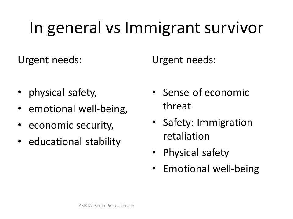 In general vs Immigrant survivor Urgent needs: physical safety, emotional well-being, economic security, educational stability Urgent needs: Sense of economic threat Safety: Immigration retaliation Physical safety Emotional well-being ASISTA- Sonia Parras Konrad