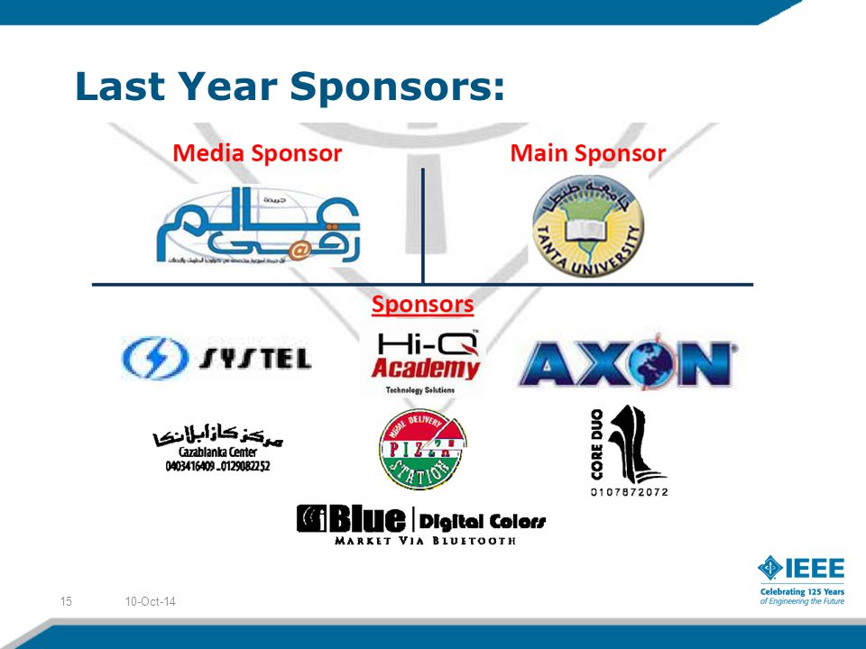 Last Year Sponsors: 10-Oct-1415