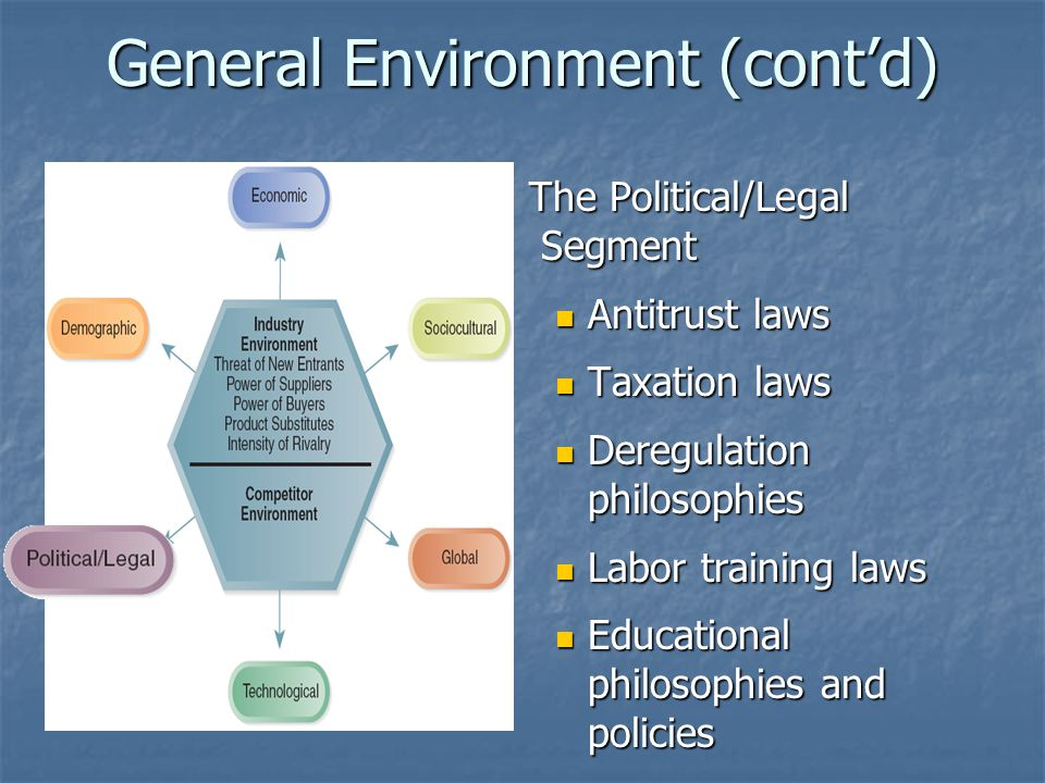 General Environment (cont'd) The Political/Legal Segment The Political/Legal Segment Antitrust laws Antitrust laws Taxation laws Taxation laws Deregulation philosophies Deregulation philosophies Labor training laws Labor training laws Educational philosophies and policies Educational philosophies and policies