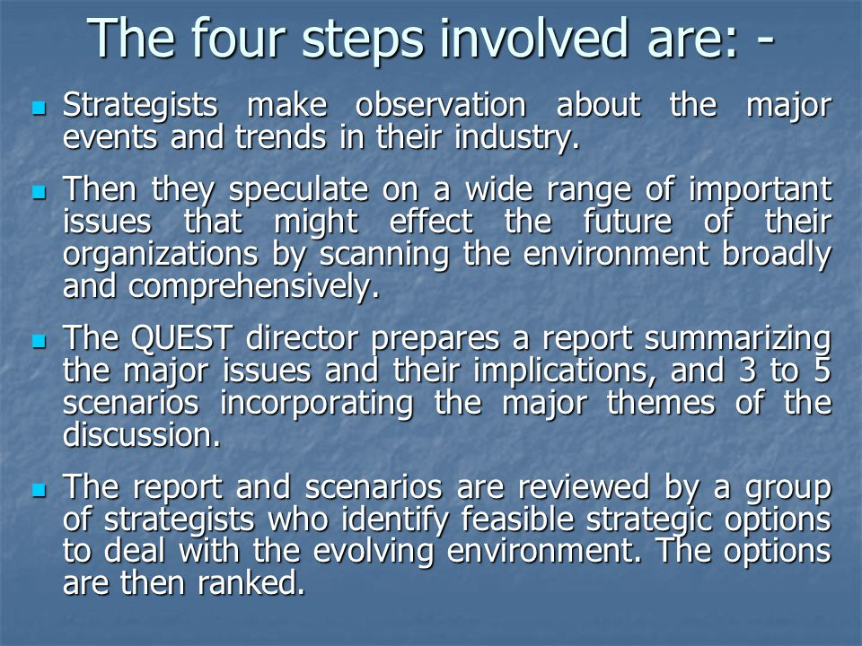 The four steps involved are: - Strategists make observation about the major events and trends in their industry.
