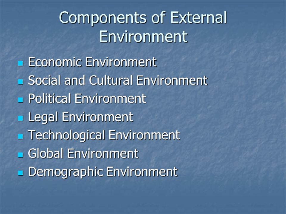 Components of External Environment Economic Environment Economic Environment Social and Cultural Environment Social and Cultural Environment Political Environment Political Environment Legal Environment Legal Environment Technological Environment Technological Environment Global Environment Global Environment Demographic Environment Demographic Environment