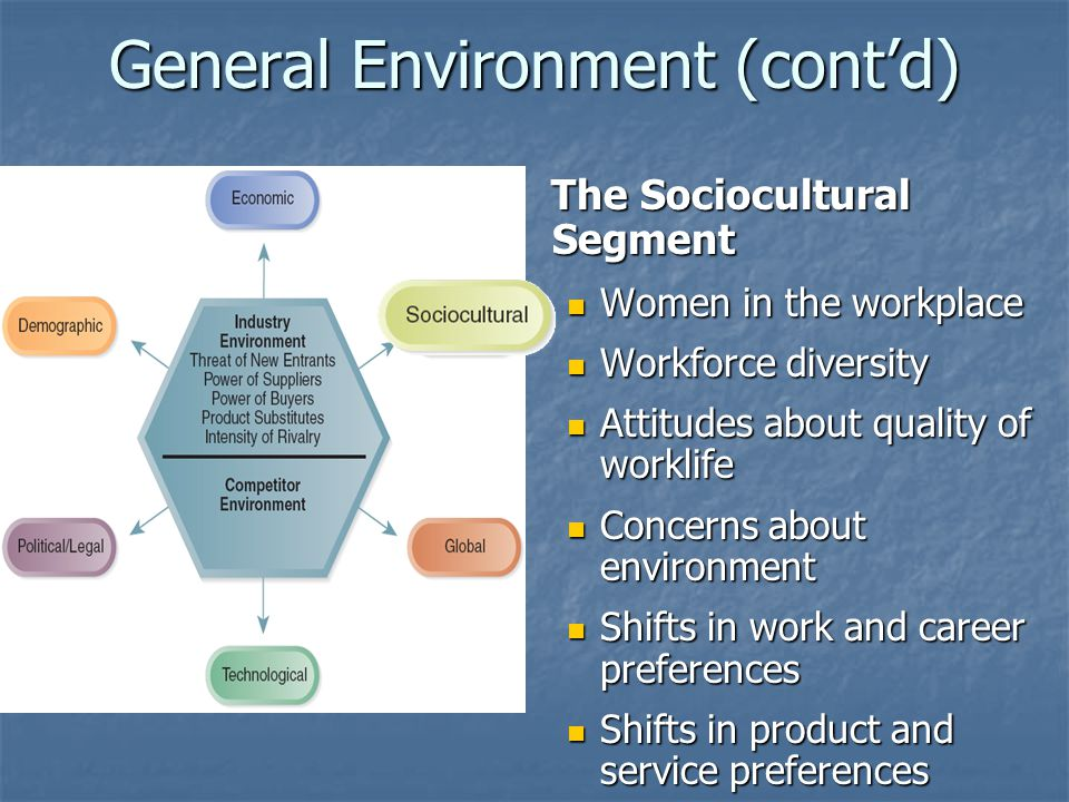 General Environment (cont'd) The Sociocultural Segment The Sociocultural Segment Women in the workplace Women in the workplace Workforce diversity Workforce diversity Attitudes about quality of worklife Attitudes about quality of worklife Concerns about environment Concerns about environment Shifts in work and career preferences Shifts in work and career preferences Shifts in product and service preferences Shifts in product and service preferences