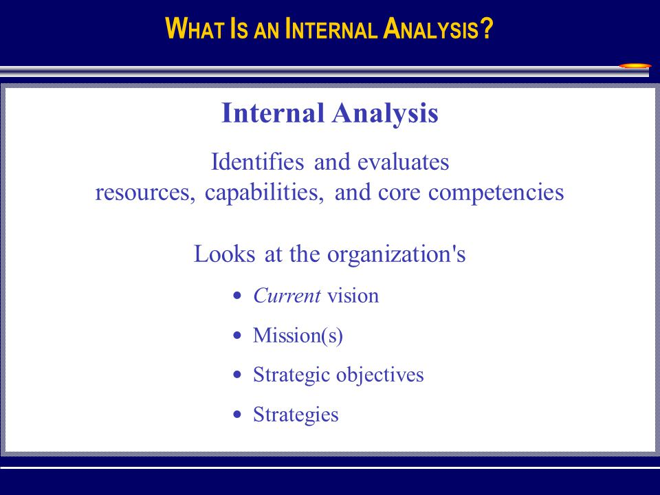 Internal Resource Analysis UNIT IV