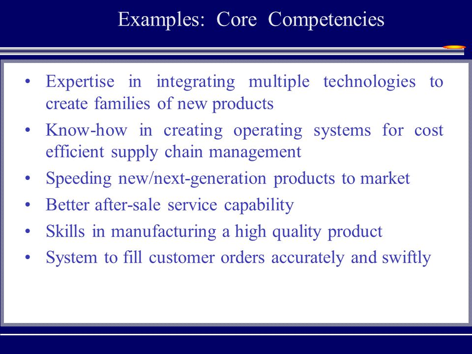 Examples: Core Competencies Expertise in integrating multiple technologies to create families of new products Know-how in creating operating systems for cost efficient supply chain management Speeding new/next-generation products to market Better after-sale service capability Skills in manufacturing a high quality product System to fill customer orders accurately and swiftly