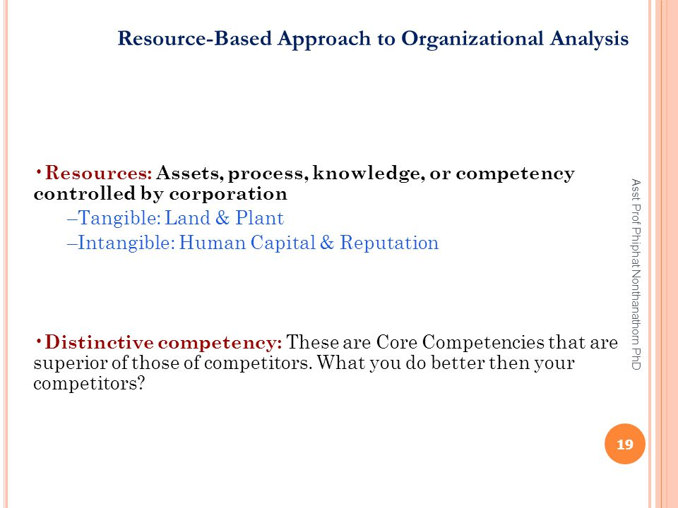 Resource-Based Approach to Organizational Analysis Resources: Assets, process, knowledge, or competency controlled by corporation –Tangible: Land & Pl