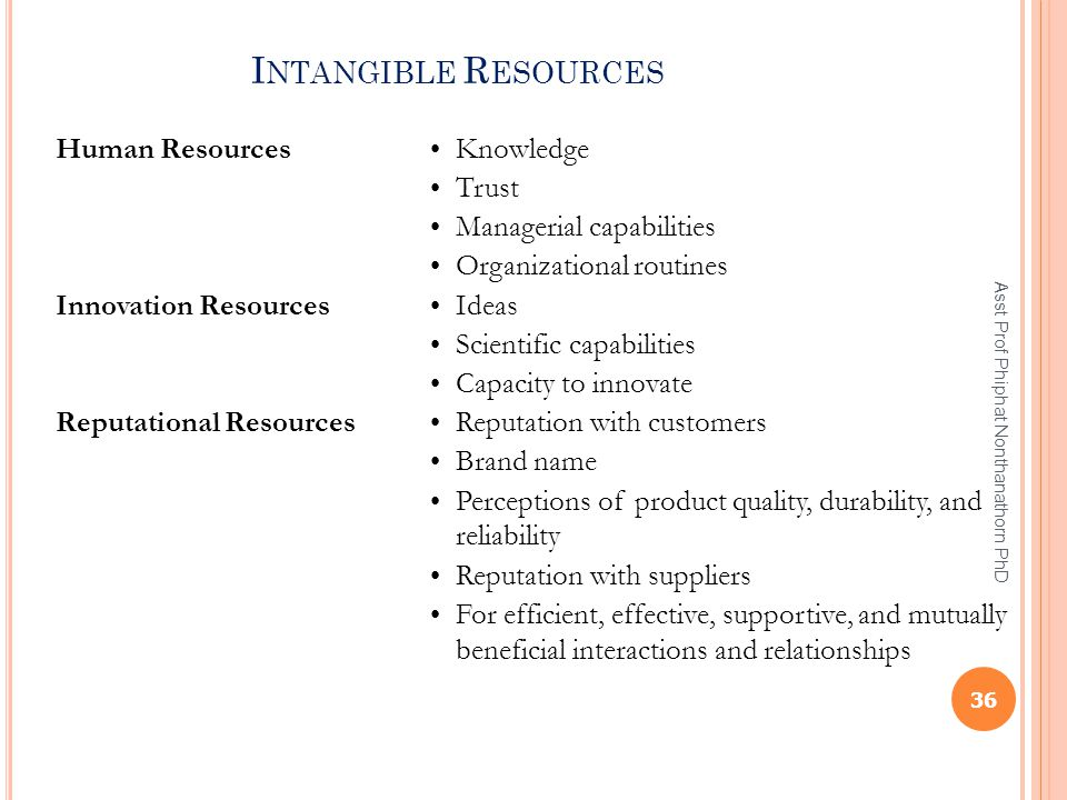I NTANGIBLE R ESOURCES Human Resources Knowledge Trust Managerial capabilities Organizational routines Innovation Resources Ideas Scientific capabilit