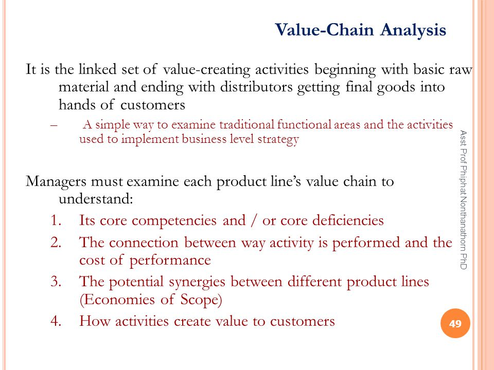 Value-Chain Analysis It is the linked set of value-creating activities beginning with basic raw material and ending with distributors getting final go
