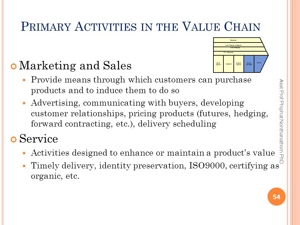 P RIMARY A CTIVITIES IN THE V ALUE C HAIN Marketing and Sales Provide means through which customers can purchase products and to induce them to do so